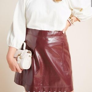 Anthropologie Maeve faux patent leather skirt